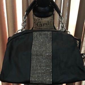 INC Black Leather & Rhinestone Dressy Satchel Bag